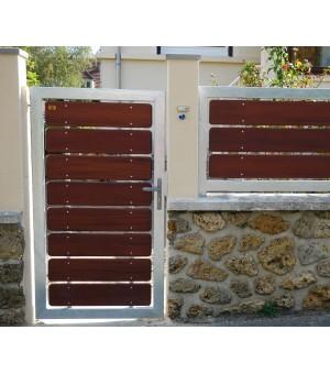Portillon bois design semi-plein avec cadre en acier PAU