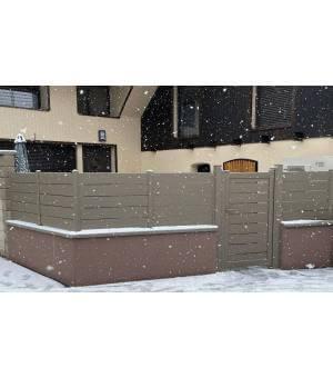 Ensemble clôture et portillon alu ajouré METZ en gris beige