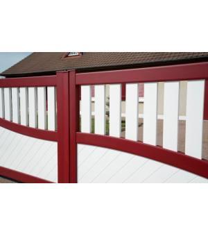 Détails du portail alu battant EZE bicolore rouge et blanc