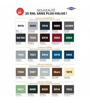 Palette des 25 coloris standards au même prix au choix !
