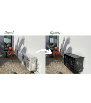 cache climatiseur pompe à chaleur avant après