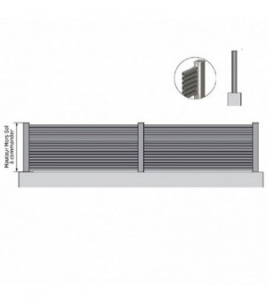 Clôture aluminium ajourée à barreaux fins horizontaux sur mesure