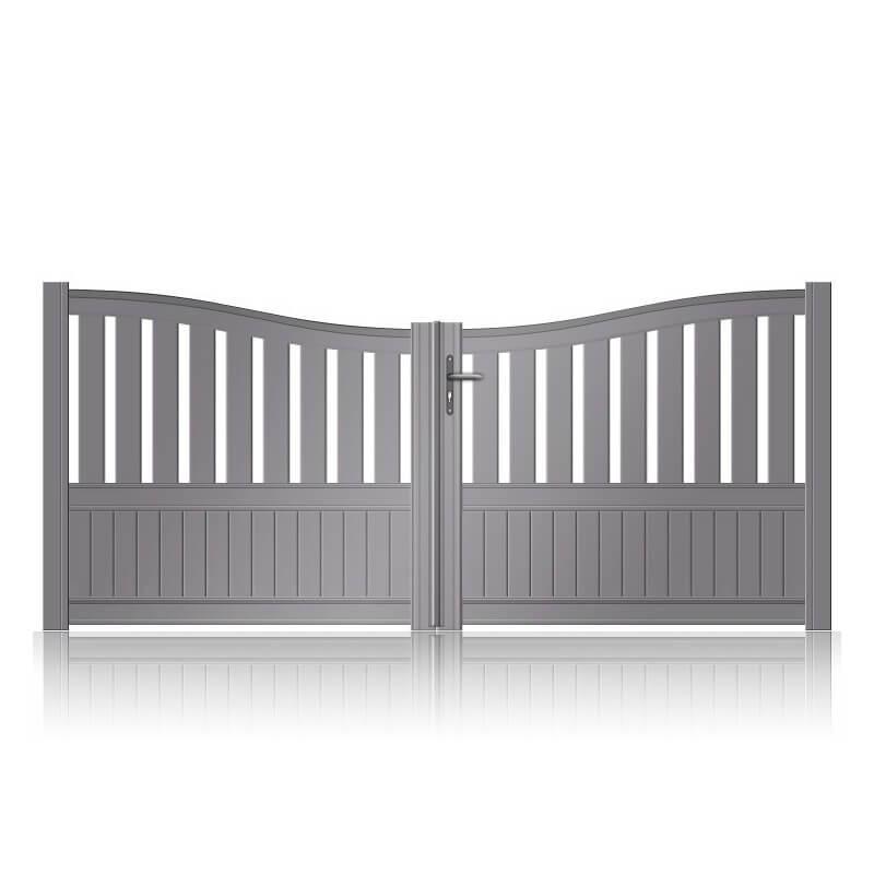 Portail aluminium battant semi-plein barreaux et soubassement incurvé