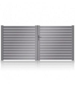 Portail de jardin moderne aluminium ajouré à lames horizontales