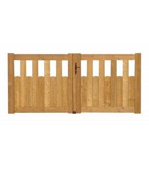 Portail battant en bois festonné semi-plein en pin