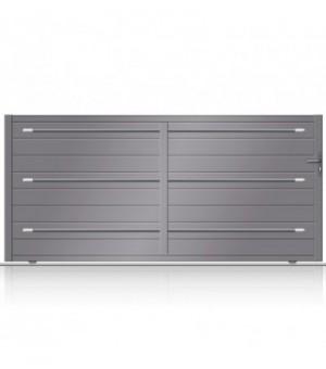 Portail aluminium coulissant design by Bel'M sur mesure. Configuration en ligne