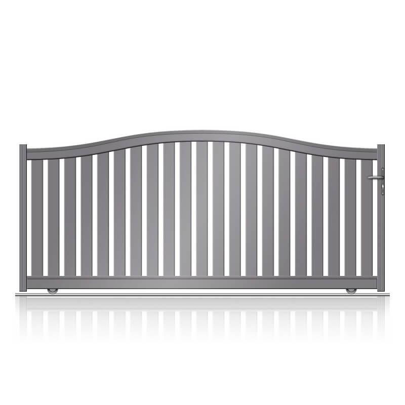 Portail aluminium coulissant barreaudé