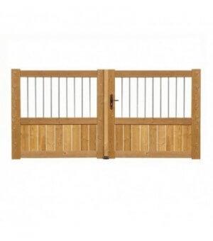 Portail bois semi-plein THT avec barreaux inox