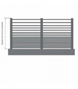 Clôture aluminium ajourée à barreaux fins horizontaux et dégradés