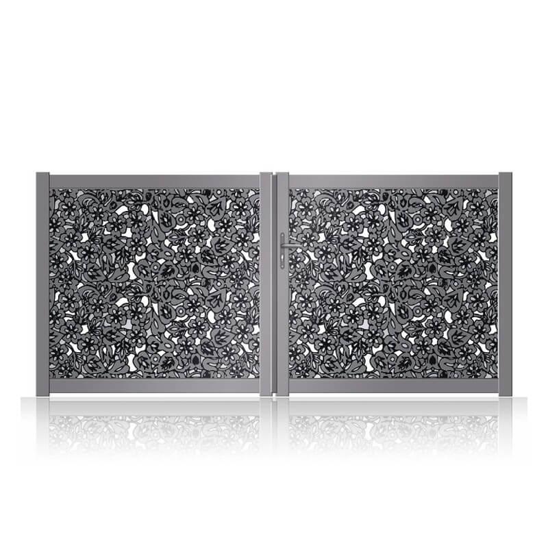 Portail alu design floral contemporain