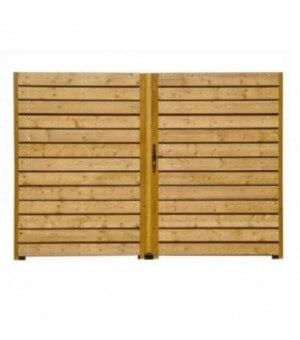 Portail bois plein MAUTAUBAN avec lames horizontales décalées