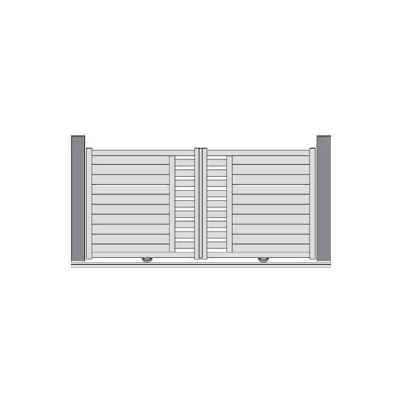 Représentation portail PVC coulissant aspect 2 vantaux MERIEL