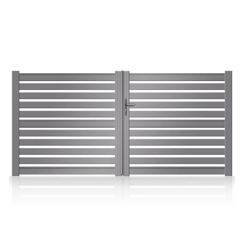 Portail aluminium sur mesure ajouré avec traverse pour motorisation