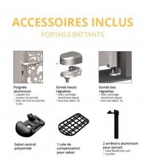 Schémas des accessoires fournis avec votre portail alu battant