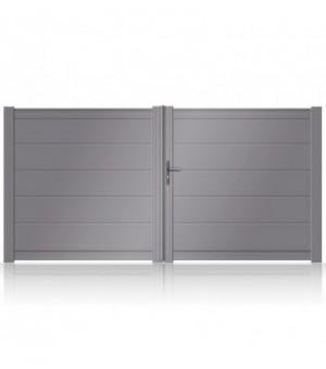 Portail aluminium 2 vantaux à lames extra larges horizontales