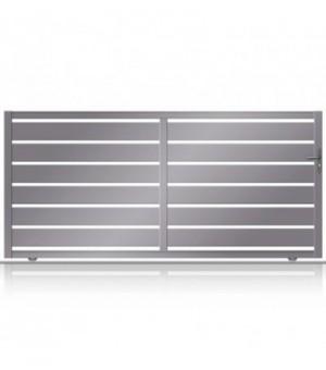 Portail moderne en aluminium coulissant sur mesure à lames horizontales larges ajourées