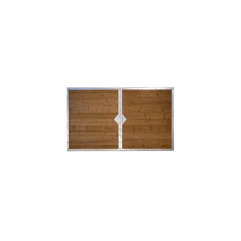 Portail battant 2 vantaux en bois THT et cadre acier ORLEANS