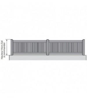 Clôture alu barreaudée avec barreaux fins ajourés