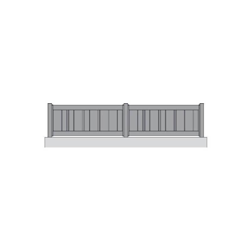 Clôture alu barreaudée avec barreaux différentes sections ajourés