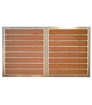 Portail bois battant design PAU avec cadre acier galvanisé