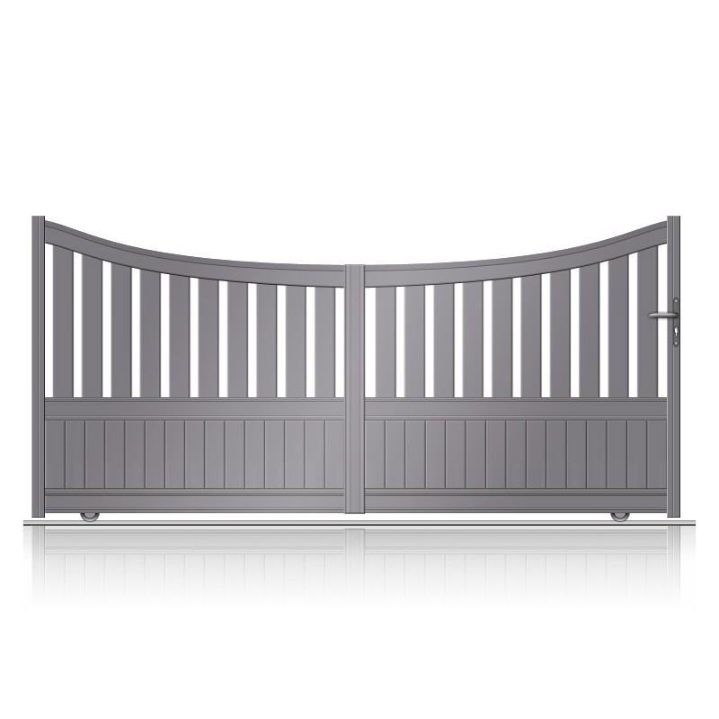 Portail coulissant aluminium de forme incurvée et semi-plein