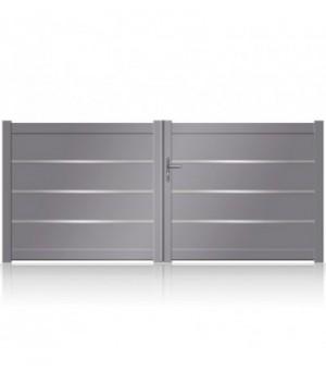 NOUVEAU: portail battant aluminium plein à lames extra larges et jonc alu
