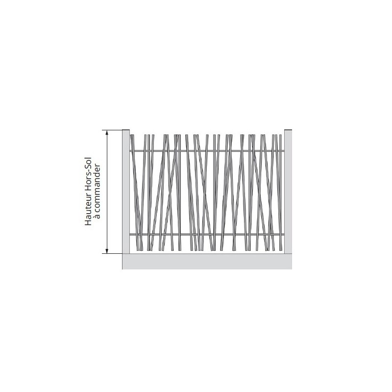 Clôture aluminium avec barreaudage asymétrique tout ajourée