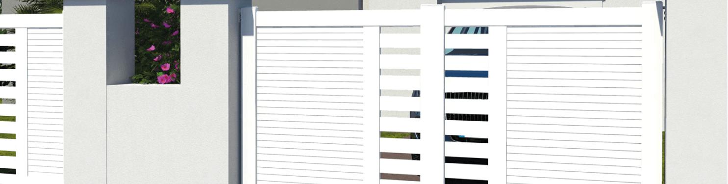 Portail coulissant PVC design sur mesure   LMC Ouvertures
